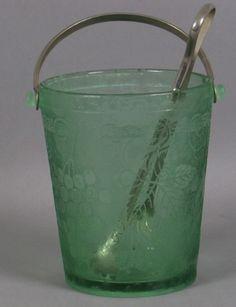 "BUCKET Fostoria glass ""Grape Brocade"" green depression glass ice bucket"