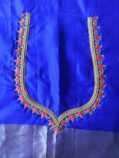 Pattu Saree Blouse Designs, Blouse Designs Silk, Designer Blouse Patterns, Hand Work Blouse Design, Simple Blouse Designs, Simple Embroidery, Hand Embroidery Designs, Thread Work, Outline