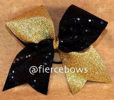 Gold and black cheer bow