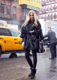 let it snow! A fabulous oversized coat is very chic for a winter outfit.