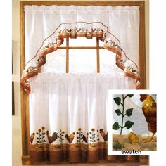 rooster complete 36 kitchen curtain set by united french country curtainscountry - Country Kitchen Curtains Ideas