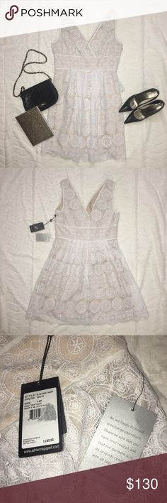 👰🏽👰🏿👰Bridal Shower Dress 👰🏻👰🏼👰🏾 Brand new with tagged attached white lace Adrianna Papell dress! Perfect for a bride! 👰🏻 Bridal shower! 👰🏿 Bachelorette! 👰🏼Honey moon! 👰🏽 Engagement party! 👰🏾 Adrianna Papell Dresses Wedding