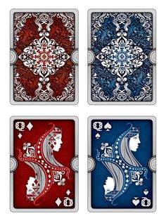 Ornate Playing Cards | Early design stage| Silver Boarder back design and Queens (draft)