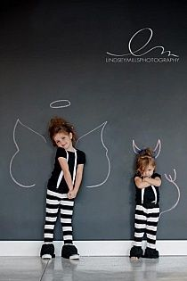 Funny chalkboard picture background for kids' photo shoot.