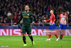 Radamel Falcao Garcia of Monaco reacts after missing a penalty during the UEFA Champions League Group A match between Club Atletico de Madrid and AS. Carlos Valderrama, Uefa Champions League, Monaco, Soccer, Group, Sports, Hs Sports, Futbol, European Football