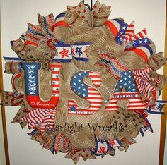 Burlap USA Mesh Wreath Patriotic Decor by StarlightWreaths on Etsy