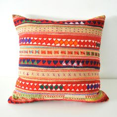 Beige Tribal Cotton Pillow Cover by Little Attic
