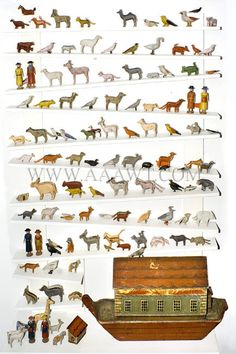 Antique Noah's Ark, German, 19th Century, ark and animals view