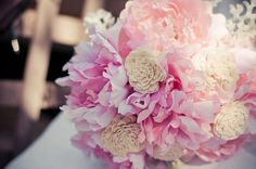 Pink Peony and Balsa Wood Flower Bouquet by kjhamilton7 on Etsy, $45.00