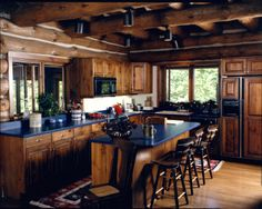 gathering spot Log Home Kitchens, Log Homes, Table, Furniture, Home Decor, Timber Homes, Interior Design, Log Cabin Homes, Home Interior Design