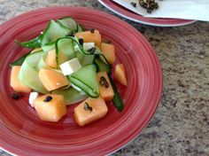 Cucumber and Cantaloupe Salad with Crispy Capers