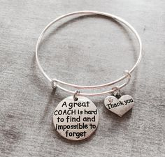 A great coach is hard to find and impossible to forget, Number 1 Coach Gift, Personalized Coach Bracelet, Gift for Coach, Cheer Coach, Gifts by SAjolie, $19.75 USD
