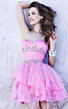 Jeweled Mini Strapless Short Pink Dresses