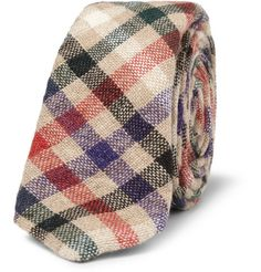 ++ plaid woven wool tie