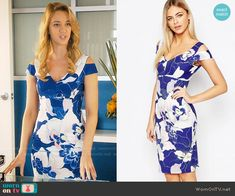 Anezka's blue floral cold-shoulder dress on Jane the Virgin.  Outfit Details: https://wornontv.net/62112/ #JanetheVirgin