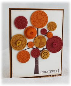 Maybe use buttons and scrapbook paper to Do this at school? Cute Cards, Diy Cards, Karten Diy, Button Cards, Thanksgiving Cards, Fall Cards, Christmas Cards, Fall Diy, Halloween Cards