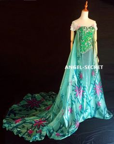 FJ929 New Frozen Fever Elsa Green Dress Whole Set | eBay