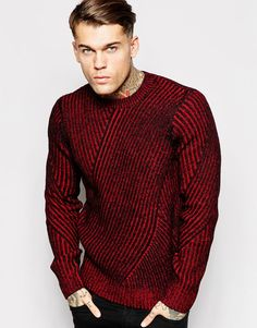 Image 1 of Diesel Crew Knit Sweater K-Gyromitra Multi Direction Rib Latest  Mens Fashion 5b736812da
