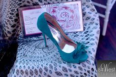 "My Glass Slipper at the Florida Girls Gone Bridal ""Color Inspiration"" Event! // GINNIE-TEAL by BADGLEY MISCHKA: Vibrant teal suede peep-toe pump wedding shoes with a glamorous feather decoration at MyGlassSlipper.com, $245.     http://www.myglassslipper.com/designer-wedding-shoes/badgely-mischka"