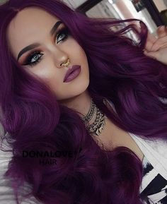 dark purple wavy waist length wig www.donalovehair....