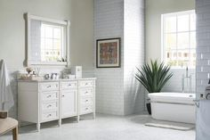 Specifications: Vanity x x Mirror, Brushed Nickel x eased edge tops with white porcelain rectangular sink(s) Configuration:Two door cabinet with a shelf & one top row tip-out drawerPremium soft-close hinges on doors.Vanity cabinet may be hung on w Luxury Bathroom Vanities, Single Sink Bathroom Vanity, Bathroom Vanity Cabinets, Bathroom Furniture, Small Bathroom, Master Bathroom, Single Vanities, White Bathrooms, Luxury Bathrooms