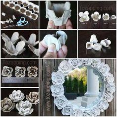 Marco de flores con cartones de huevos para un espejo