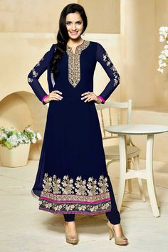 Get Latest Navy Blue #Georgette #Churidar Suit with Chiffon Dupatta #AndaazFashion  http://www.andaazfashion.com/salwar-kameez/churidar-suits/navy-blue-georgette-churidar-suit-with-chiffon-dupatta-dmv13798.html