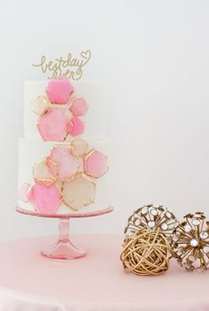 Pink and gold geo wedding cake by Ruže Cake House