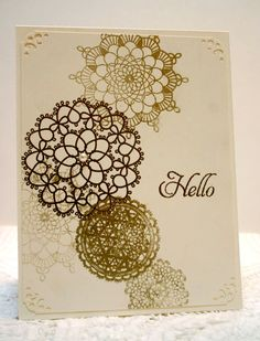 Stampin Up Delicate Doilies embossed in gold on Very Vanilla cardstock.