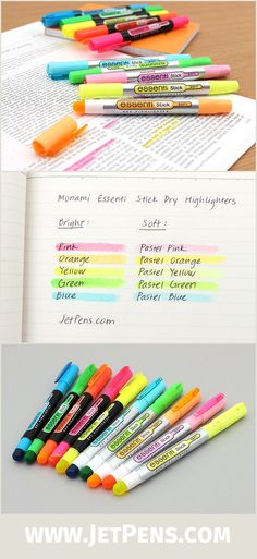 The new Monami Essenti Stick Dry Highlighters contain solid gel ink! The non-liquid ink doesn't bleed, making it great for Bibles and textbooks with thin pages.