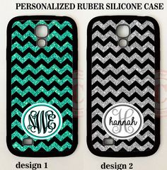 GREY BLACK MINT TEAL CHEVRON PERSONALIZED MONOGRAM Case For Samsung Galaxy S7 S6…