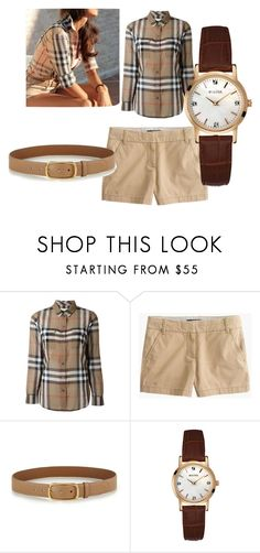 """Get the look"" by peace-joshua ❤ liked on Polyvore featuring Burberry, J.Crew, Prada and Bulova"