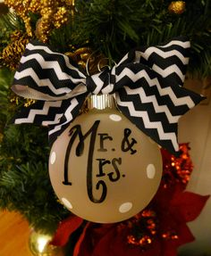 Mr. and Mrs. Ornament Chevron christmas ornament by rachelwalter, $15.00