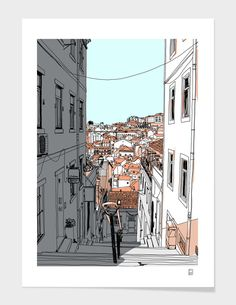 Lisbon City Art Print by krickente - X-Small Architecture Drawing Sketchbooks, Watercolor Architecture, Architecture Art, Landscape Sketch, City Landscape, Urban Landscape, City Illustration, Landscape Illustration, Lisbon City