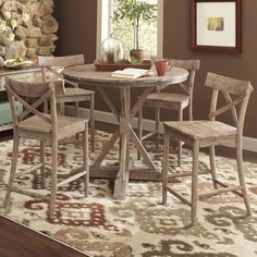 Willow Rectangular Counter Height Table Distressed White