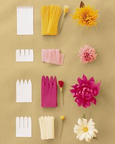 For this technique, a strip of paper cut with a fringe of petals is attached to a stamen, and petals are shaped afterward, sometimes several at a time. First make the stamen and cut petal strips and leaves. Then firmly wrap the strip of petals around the stamen or around itself; secure with floral tape. Practice so the strip doesn't slip, or cut it into shorter lengths and attach in stages. Then attach leaves and shape petals.