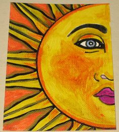 Original Pen and Ink Drawing Yellow Sun Face by gogokittenart, $15.00