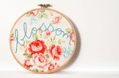 Embroidery Hoop Art. Blossom. Hand Embroidered. 6 inch Hoop. Vintage Inspired Floral Fabric. Handmade by merriweathercouncil on Etsy