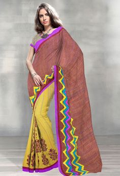 Brown & Yellow Half n Half Art Silk Saree