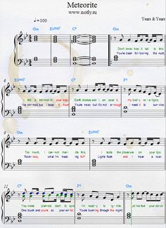 Years & Years — Meteorite Download PDF Piano Sheet Music