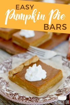These Easy Pumpkin Pie Bars can be whipped up in minutes and are so easy to slice and serve! Perfect for Thanksgiving and the holidays!  #Pumpkin #Pie #Bars #Thanksgiving #Dessert
