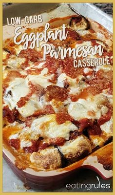 "Low-Carb Eggplant Parmesan ""Pizza"" Casserole - For a creative way to eat unprocessed and get your ""pizza fix"" too, give Erika's Low-Carb Eggplant Parmesan Casserole a try. Keto Eggplant Recipe, Eggplant Pizza Recipes, Eggplant Lasagna, Eggplant Moussaka, Eggplant Chips, Eggplant Dishes, Low Carb Recipes, Diet Recipes, Vegetarian Recipes"