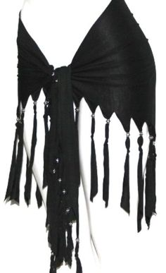 BLACK FRINGE Tribal Fusion Belly Dance Dancing Burlesque Gothic Hip Scarf Belt #HipScarf
