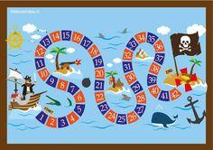 Piratenspel voor kleuters A3 formaat, kleuteridee.nl , pirate game for preschool Dutch and English game rules, free printable. ©