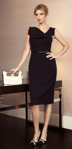 dbf259cbe95 Ivanka Trump in a sharp black dress