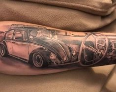 10 Yellow Vw Bug In Oceanside Ideas Vw Tattoo, Golf Tattoo, Beetle Tattoo, Car Tattoos, Badass Tattoos, Lion Tattoo, Sleeve Tattoos, Tattoos For Guys, Rodan And Fields Reverse