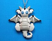 Kawaii White Tiger Dragon Necklace Polymer Clay Free Shipping