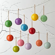 Create an extra merry tree this year with our colorful Christmas ball ornaments. Each set of 12 ornaments comes in bright and glossy hues.