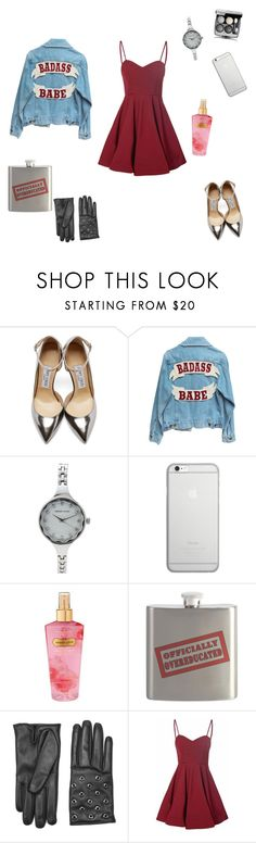"""""""f'ing in the club after school"""" by ihatedeadlines ❤ liked on Polyvore featuring Jimmy Choo, Adrienne Vittadini, Native Union, Victoria's Secret, RED Valentino and Glamorous"""