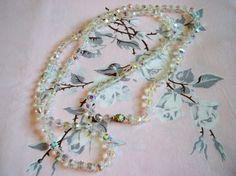Vintage 1950s Aurora Borealis Crystal Bead Flapper Necklace Wedding Jewelry